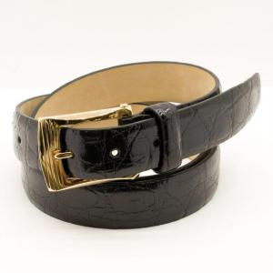 Fibbia d'Oro Giallo Guilloché 18 ct con Cintura in Coccodrillo Nera