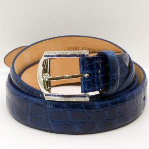 Fibbia d'Oro Bianco Diamanti e Zaffiri con Cintura in Coccodrillo Blu