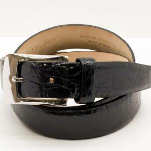 Fibbia In Oro Bianco 9 ct con Cintura di Coccodrillo Blu