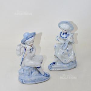 Coppia Statue in Ceramica Lui/lei azzurre, altezza 16 cm
