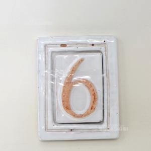 Numero Civico (6) Terracotta Bianco