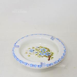 Posacenere In Ceramica Della Cava Dei Terreni Dipinto A Mano Con Fiori Azzurri