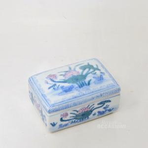 Portagioie In Ceramica, Disgno Laghetto Con Fiori, Larghezza 10 Cm