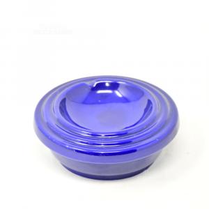 Posacenere In Ceramica Blu, Rotondo 17 Cm