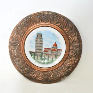 Piatto In Rame E Ceramica Con torre di pisa