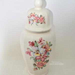 Vaso Bianco Con coperchio, altezza 40 cm