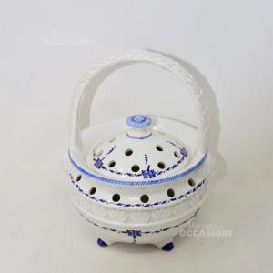 Cestino In Ceramica Moretti Este Bianco e blu
