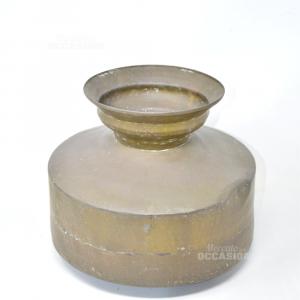 Vaso In Ottone anticato (difetto bordo) altezza 24 cm