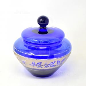 Vaso in Vetro Blu Con Coperchio e decori