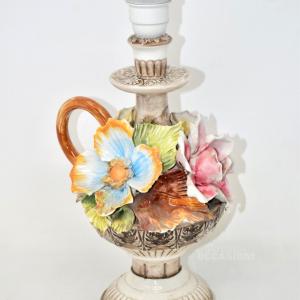 Abatjour in ceramica con Fiori Fatti A mano, altezza 37 cm MADE IN BASSANO