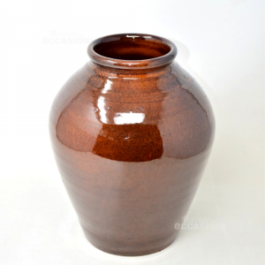Vaso Marrone in terracotta smaltata. altezza 30 cm