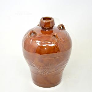 Vaso Marrone in terracotta smaltato, altezza 25 cm