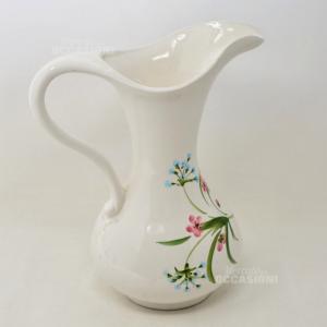 Brocca in Ceramica Bianca con fiori dipinti a mano