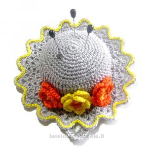 Cappellino puntaspilli grigio ad uncinetto 11.5 cm Handmade - Italy