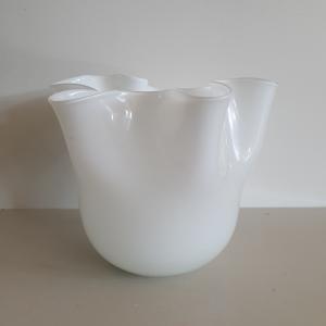 Vaso vetro Edg fazzoletto bianco medio