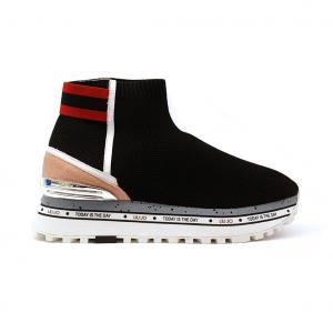 Sneaker nera a calzino con fondo platform Liu jo