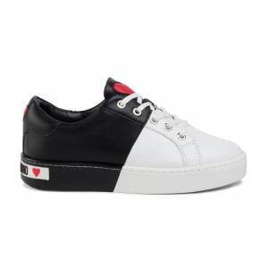 Sneaker bicolore bianco/nera Love Moschino