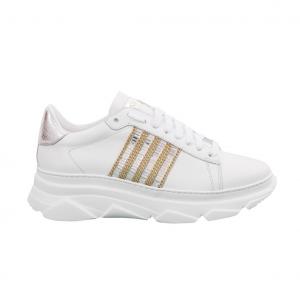 Sneaker bianca con banda specchi Stokton