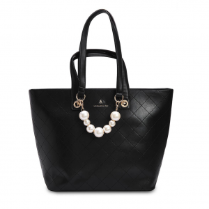 Shopper nera con perle PashBag