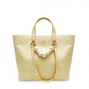 Shopper gialla con perle PashBag