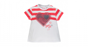 T/shirt baby in cotone con paillettes 6/24 mesi