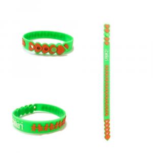 Braccialetto verde e arancio birikini trenino colorato PVC anallergico Made in Italy adulti