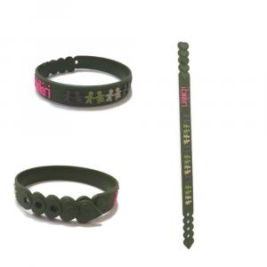Braccialetto verde militare birikini trenino colorato PVC anallergico Made in Italy adulti