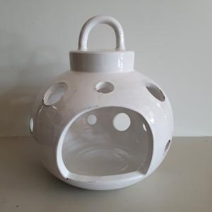 Lanterna ceramica Toscana Montelupo bianca grande