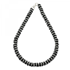COLLANA MARTELLATA TWIST MEDIUM NERA E ARGENTATA