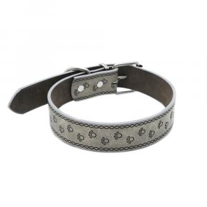 Collare cuoio grigio con medaglia e incisione