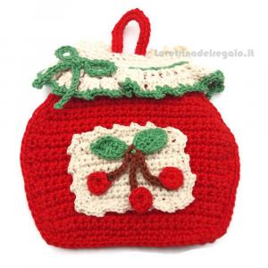 Presina natalizia barattolo rosso ad uncinetto 11.5x11 cm Handmade - Italy
