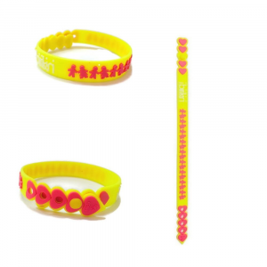 Braccialetto giallo birikini trenino colorato PVC anallergico Made in Italy bambino