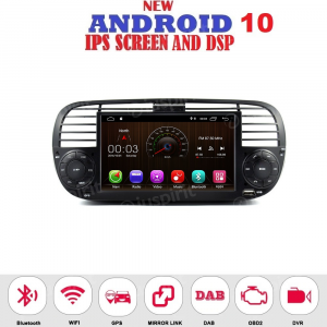 ANDROID 10 autoradio navigatore per Fiat 500 Fiat Abarth 500 2007-2015 GPS USB WI-FI Bluetooth Mirrorlink