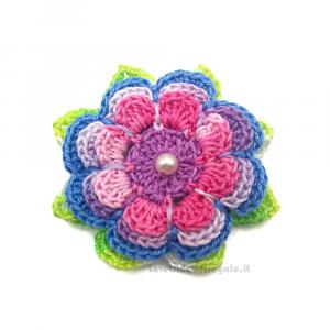 Set 5 pz - Fiore per applicazioni multicolor ad uncinetto 6 cm Handmade - Italy