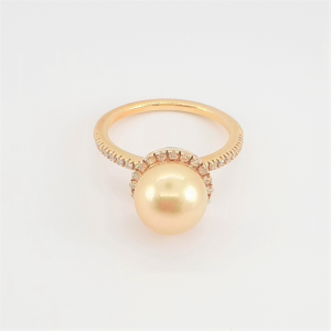 Anello in Oro Giallo Con Perla Rose Gold e Brillanti - Bibigì