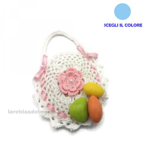 Portaconfetti borsetta bianca e rosa ad uncinetto 10 cm - Sacchetti battesimo