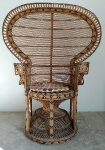 Sedia vintage rattan mod. Peacock anni '70. Per esterni