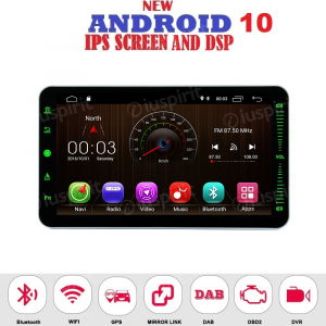 ANDROID 10 autoradio 1 DIN navigatore universale 10.1 pollici GPS DVD USB SD WI-FI Bluetooth Mirrorlink