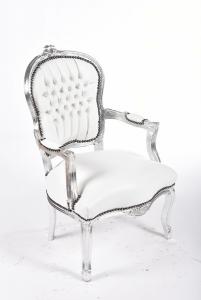 Poltrona barocco argento bianco ecopelle stile Luigi XV