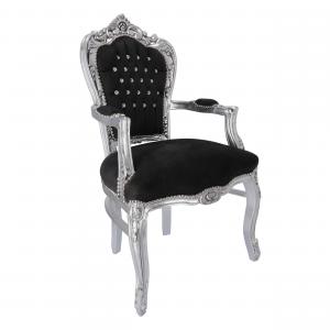 Poltrona barocco argento nero velluto