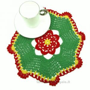 Centrino natalizio verde, giallo e rosso ad uncinetto 14 cm Handmade - Italy
