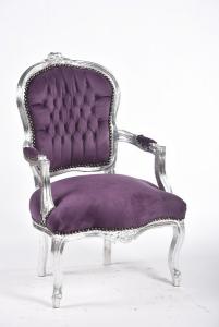 Poltrona barocco argento viola velluto