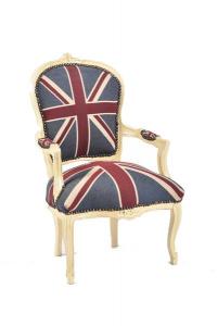 Poltrona barocco bianco bandiera inglese - UK