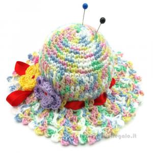 Cappellino puntaspilli sfumature colori pastello ad uncinetto ø 11 cm Handmade - Italy