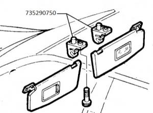 Supporto centrale parasole Lancia Ypsilon, 735290750,