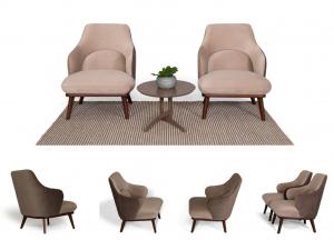 FLAVIA - Poltrona bicolore avvolgente dalle forme generose, comfort contemporaneo, gambe in legno