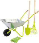 Carriola con utensili da giardino