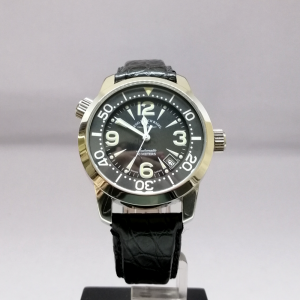 ZENO-WATCH BASEL BLACK YELLOW PELLE
