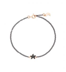 BRACCIALE STELLA LUNA Oro rosa 9kt, Argento, Diamanti black treated9Ct Cm 18/19