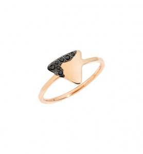ANELLO PRECIOUS TAG Oro rosa 9kt, Diamanti black trattati